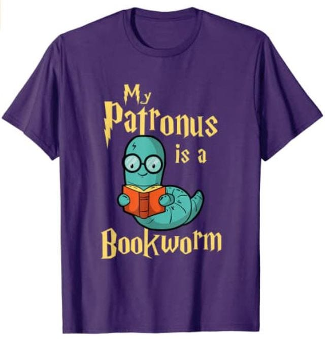 Purple t-shirt with a worm holding a book saying My Patronus is a Bookworm (Reading Shirts)