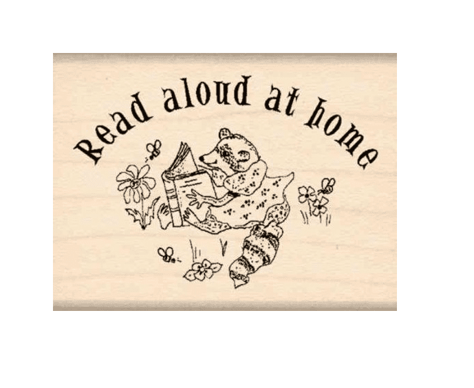 Read aloud at home raccoon stamp