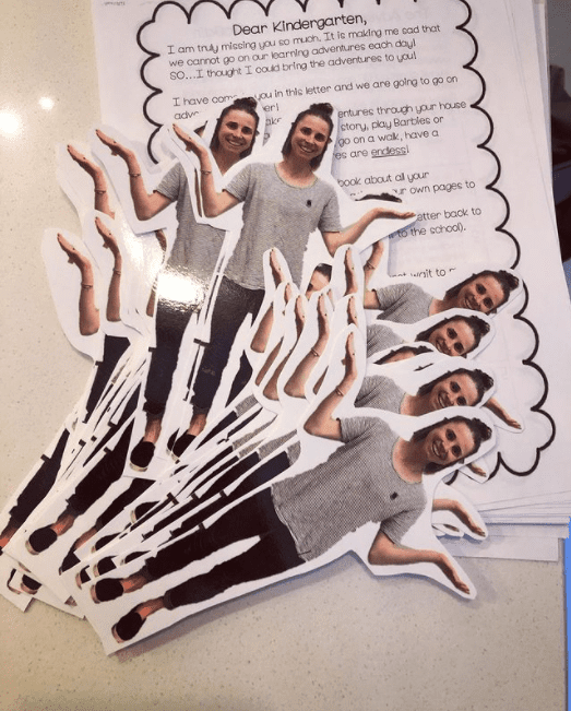 Photos of teacher cut out to send with Flat Stanley letter