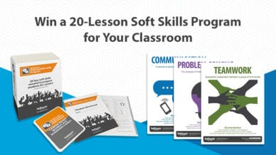 soft skills program box with workbook and teacher guide; social skills posters: teamwork, communication, problem-solving