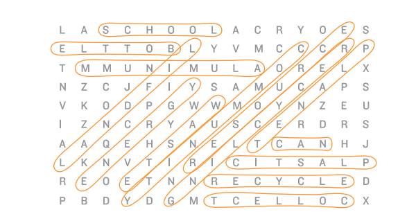 Recycle-themed crossword with answers circled.