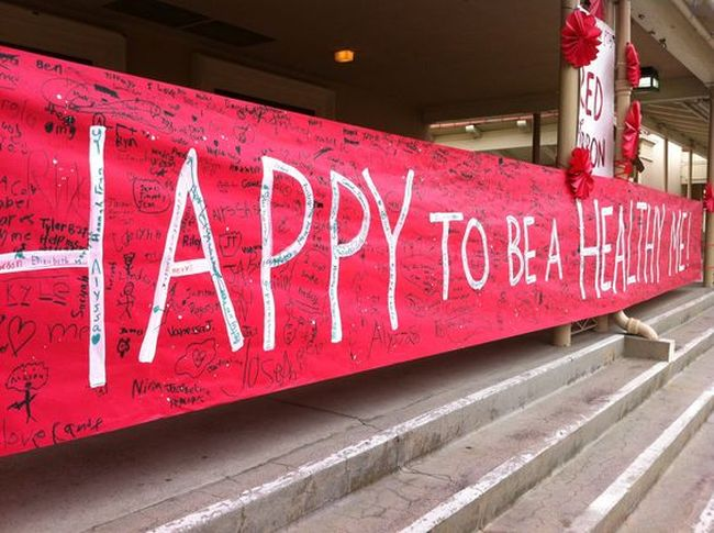 Happy to Be a Healthy Me red banner signed by students (Red Ribbon Week ideas)