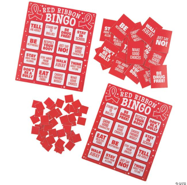 Red Ribbon Bingo cards and markers