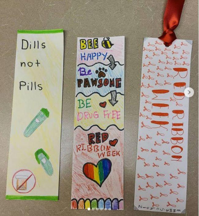 Anti-drug themed handmade bookmarks (Red Ribbon Week Ideas)