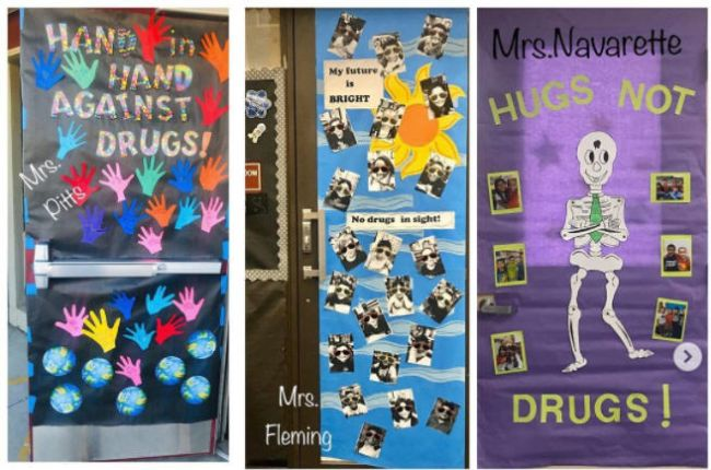 Doors decorated for Red Ribbon Week