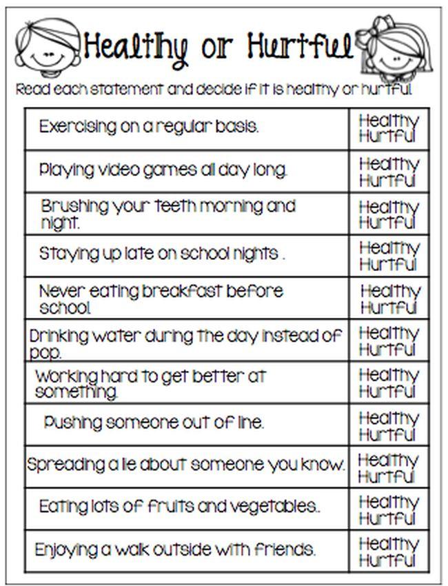 Free printable Healthy or Hurtful worksheet (Red Ribbon Week Ideas)