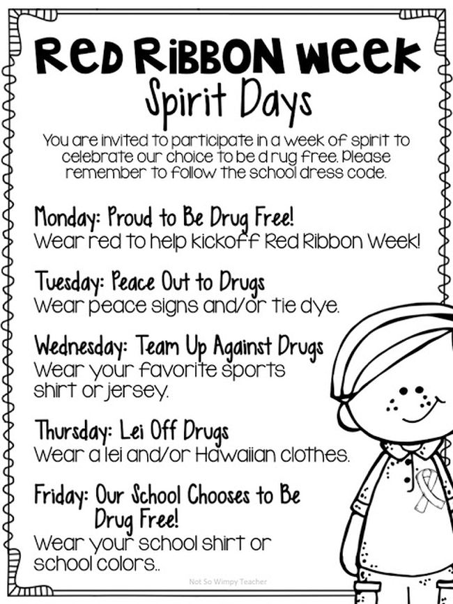 List of dress-up ideas for Red Ribbon Week spirit days