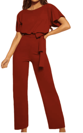 Women's wide leg jumpsuit in red from Amazon