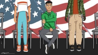 Student sitting in front of flag, refusing to say Pledge of Allegiance