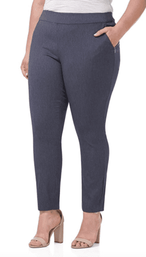 Rekucci women's stretch pants with tummy control in indigo color