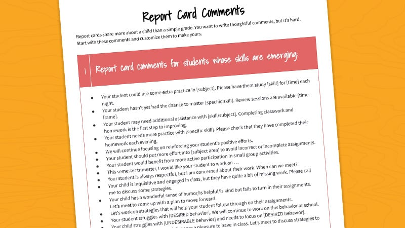 A close-up of the printable report card comments pdf on a sunny yellow background.