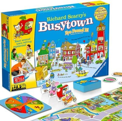 Box and game board, cards, playing pieces, and spinner for Richard Scarry's Busytown Eye Found It game