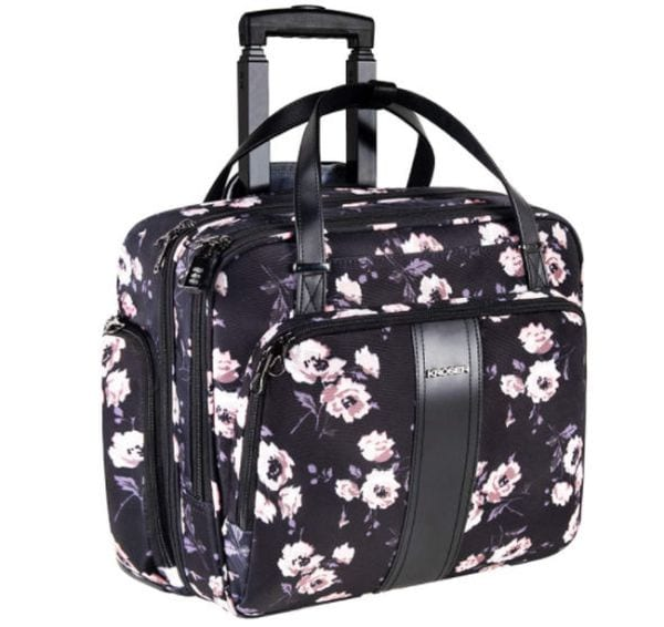 Floral print rolling briefcase with extendable handle