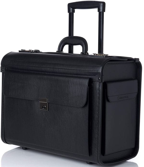Boxy leather briefcase with rolling wheels and extendable handle