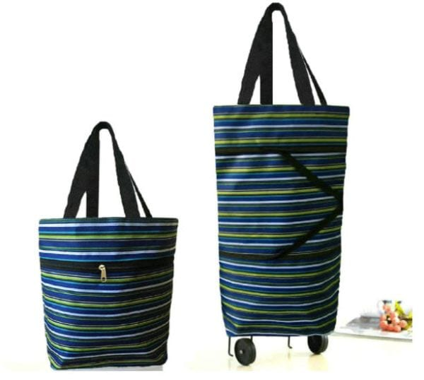Striped tote bag with top handles that expands to be taller and includes rolling wheels