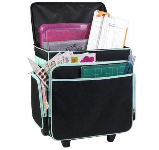 Rolling bag in black with large open compartment and multiple zipper pockets (Rolling Bags for Teachers)