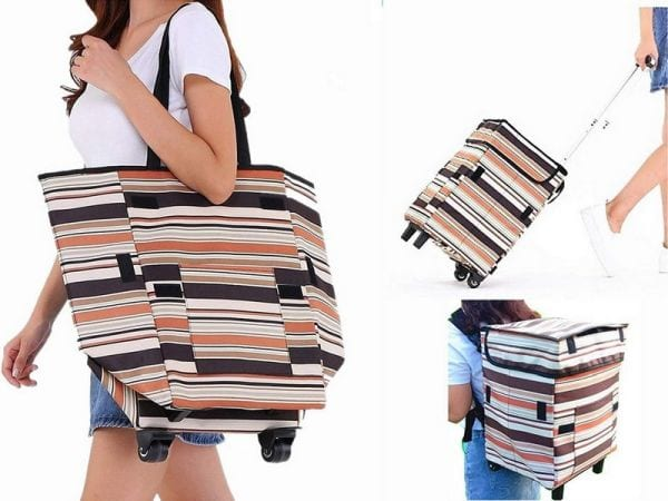 Woman carrying a collapsible striped tote bag with wheels and backpack straps