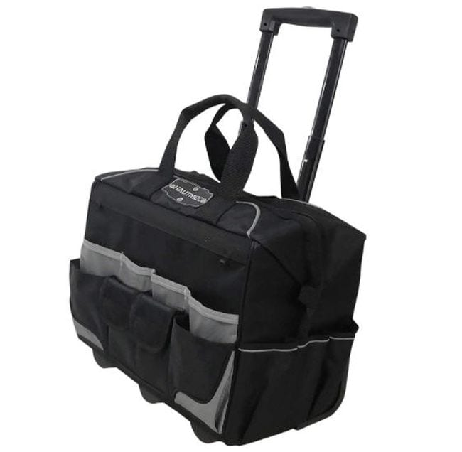 Large black rolling bag with pockets and central open compartment (Rolling Bags for Teachers)