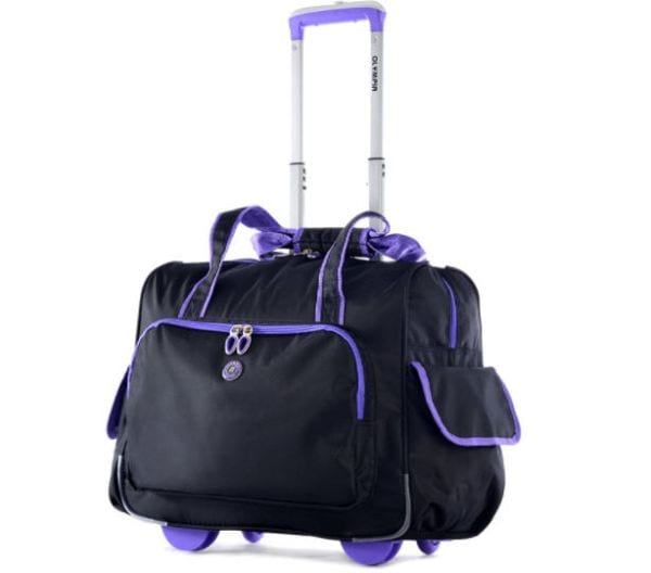 Black bag with purple piping, rolling wheels, and extendable handle (Rolling Bags for Teachers)