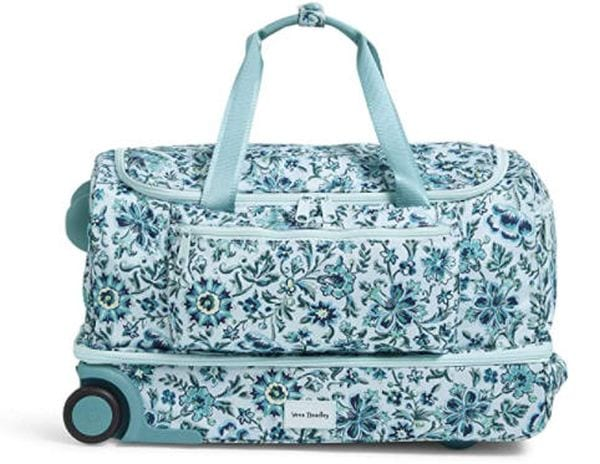 Blue flowered rolling duffel bag with bottom zipper compartment (Rolling Bags for Teachers)