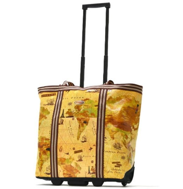 Rolling tote bag with extendable handle and a world map print (Rolling Bags for Teachers)