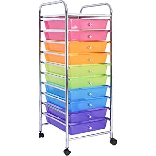 10 drawer rolling storage cart multicolored