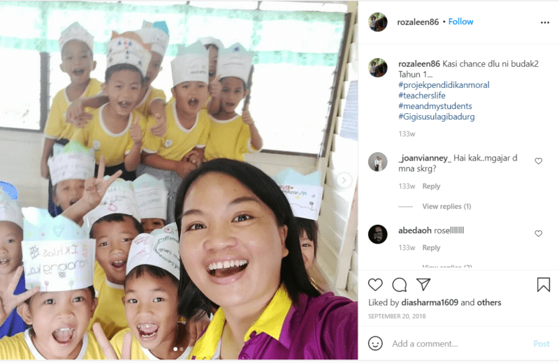 Still of Instragram rozaleen86 post of silly photo with students