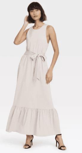Ruffle hem sleeveless dress in tan