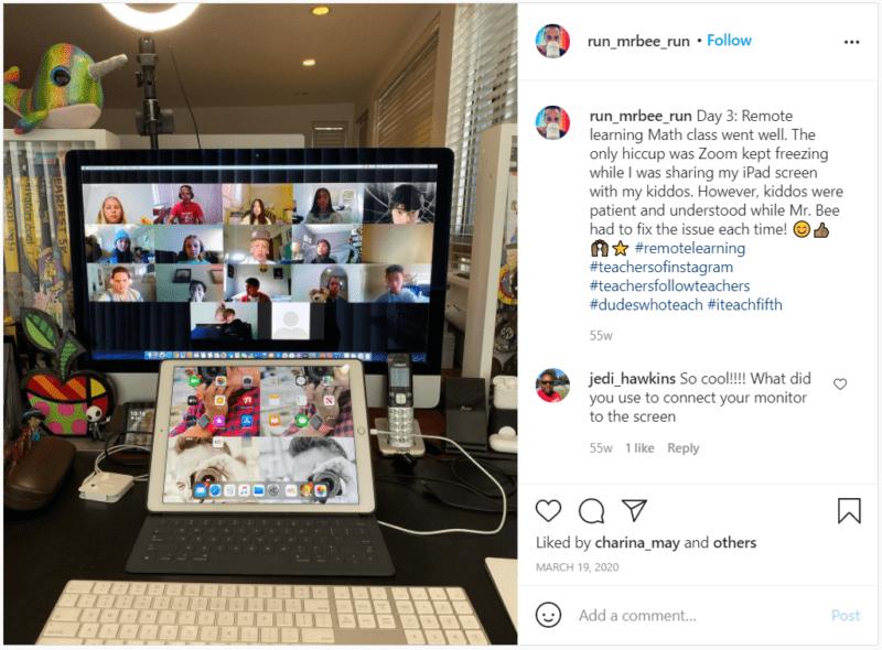 Still of Instagram post from run_mrbee_run teach fifth grade online tips