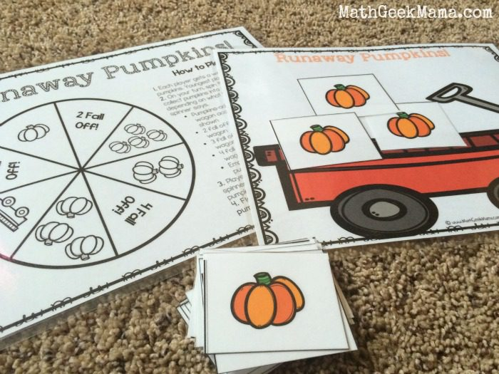 game pieces and game board for Runaway Pumpkins game for young learners