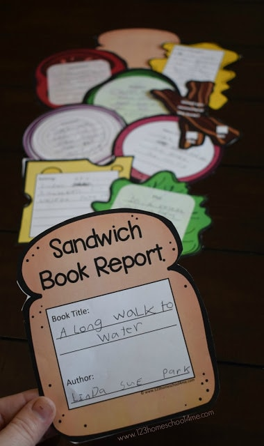 a sandwich book report with different pieces of colored paper acting as ingredients for the sandwich, like lettuce, onion and tomato. Each ingredient has a written part of the book report.