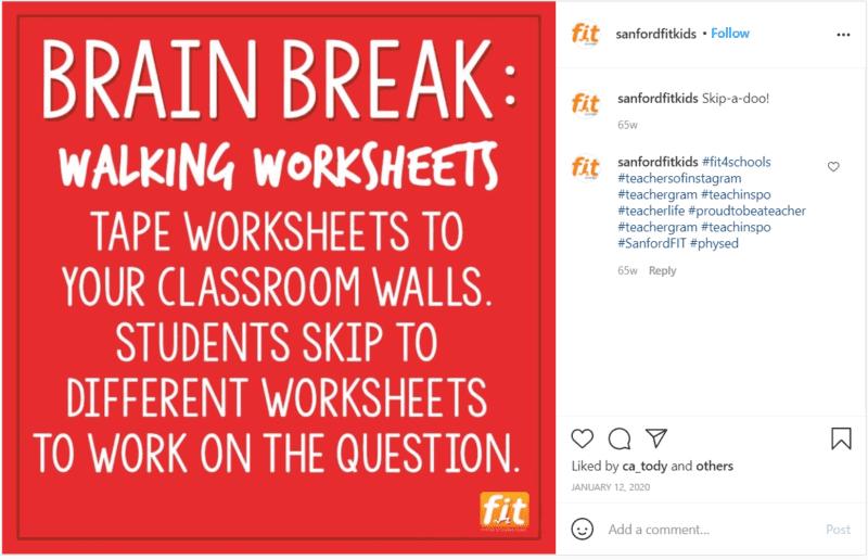Still of educational brain break sanfordfitkids Instagram post