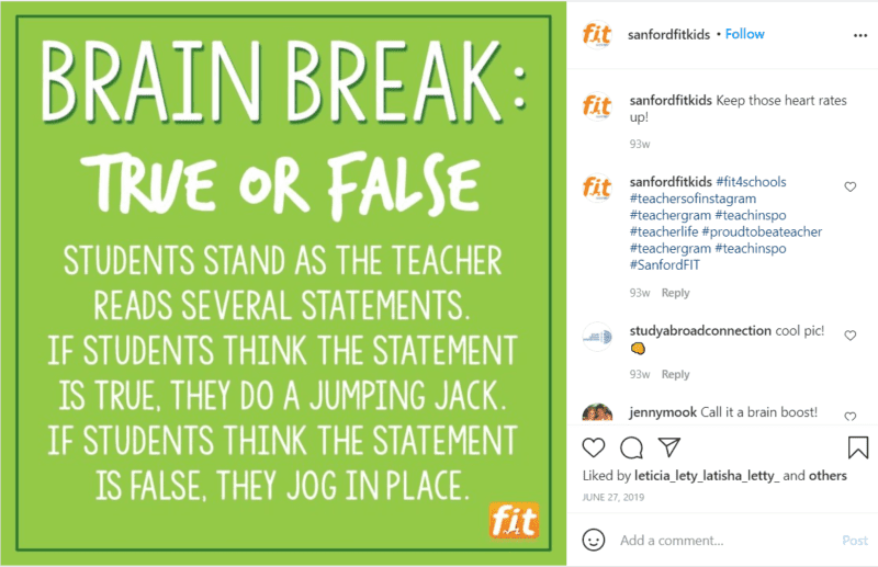 Still of true or false brain break sanfordfitkids Instagram post