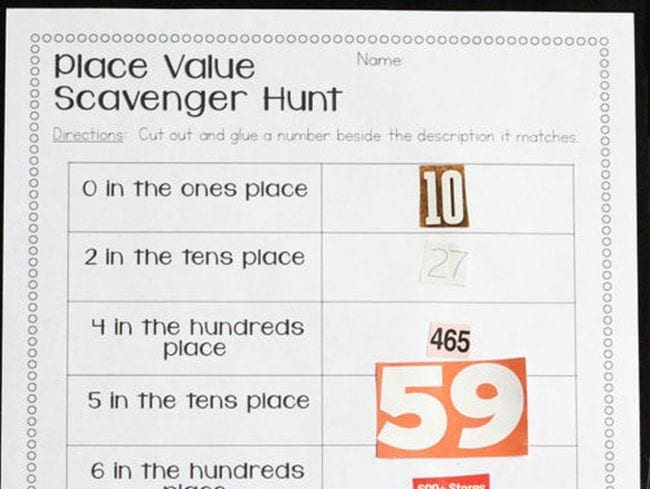 Place value scavenger hunt printable