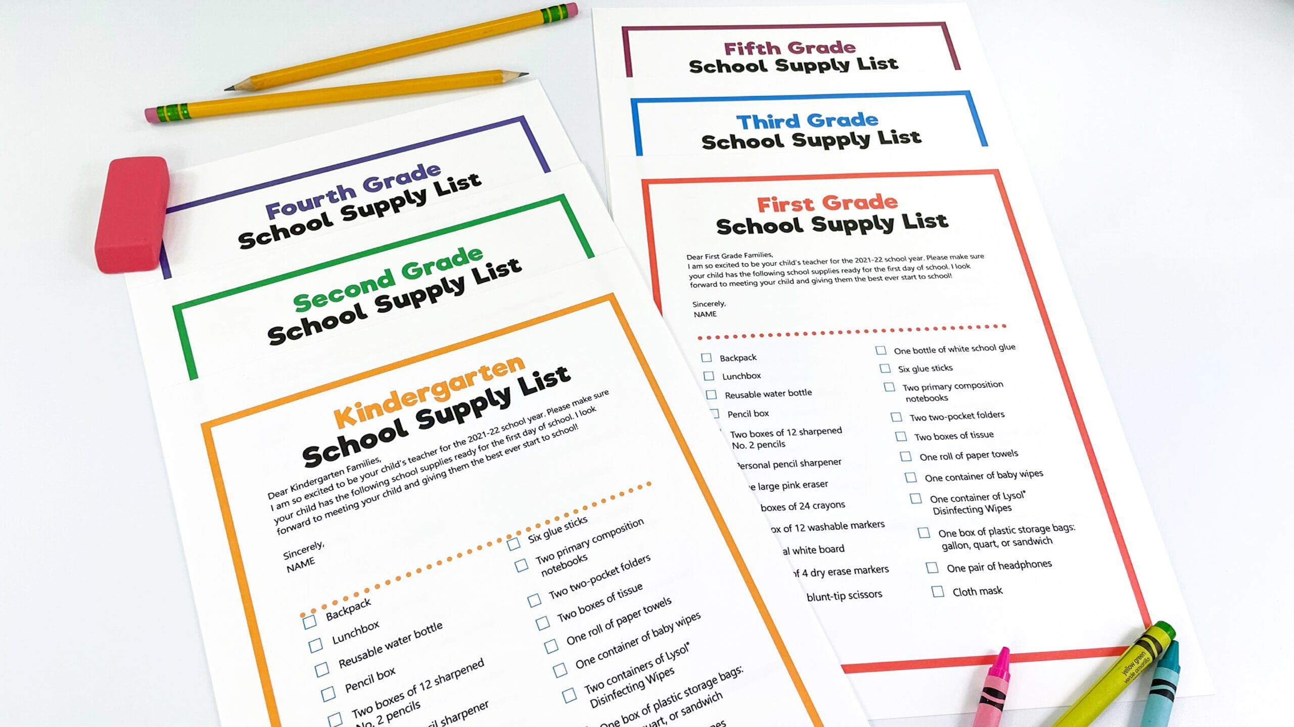 School supply lists for the classroom