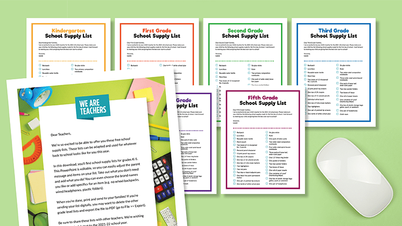 Flat lay of school supply lists for K-5 on green backgound