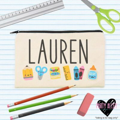 cute pencil pouch with school supplies and student name
