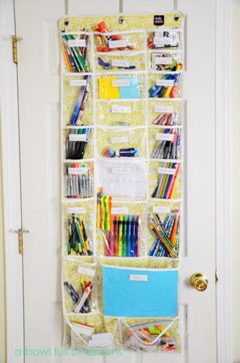School supplied organized in over the door shoe organizer