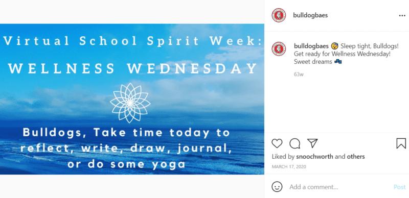 Flyer with blue skies and water advertising Wellness Wednesday as part of virtual school spirit week