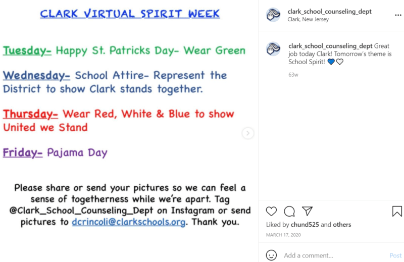 Virtual Spirit Week flyer sharing schedule for school during quarantine