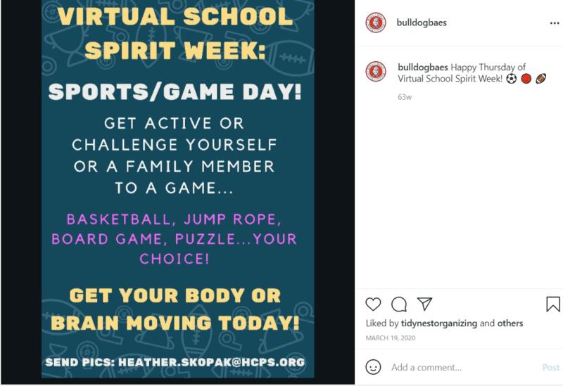School social media post advertising virtual spirit week during quarantine