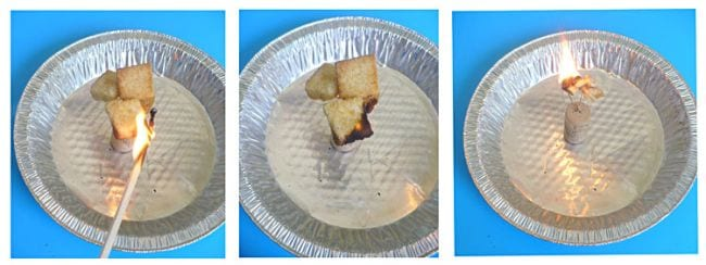 Collage of steps for measuring calories with a homemade calorimeter (Science Experiments for High School)
