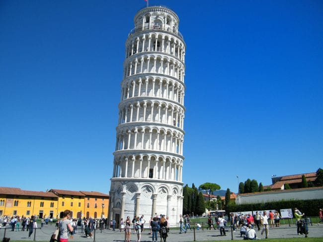 Leaning Tower of Pisa and the square around it, against a blue sky