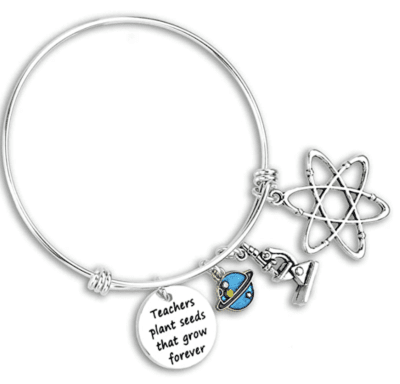 Science teacher bracelet with microscope, atom, and planet charm
