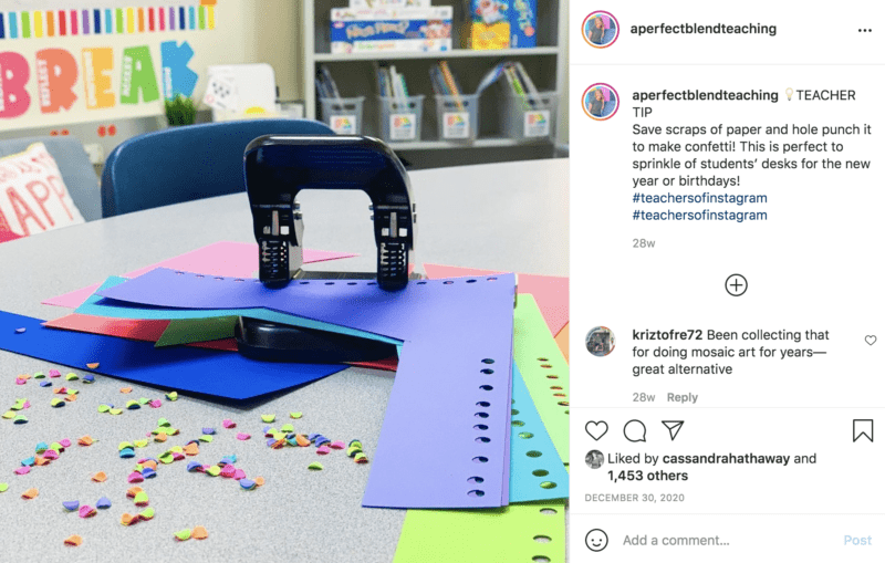 Turn colored scrap paper into confetti with a hole punch