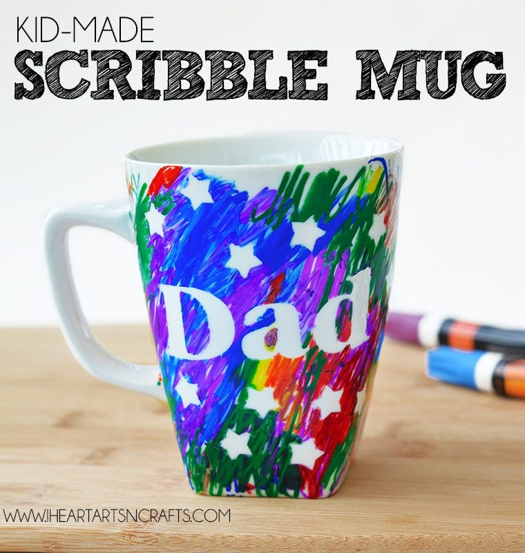 Scribble mug that says Dad with stars.