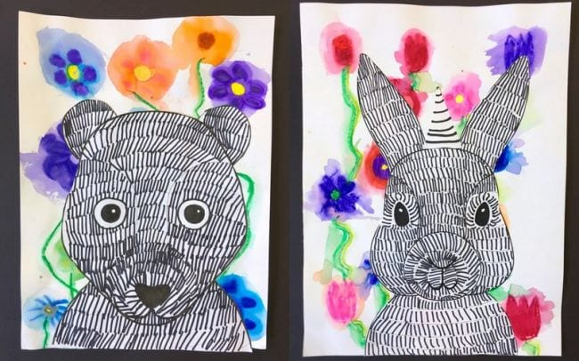 Black and white drawings of a bear and bunny with colorful flower backgrounds (Second Grade Art)