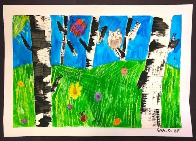 Child's painting of a birch tree forest with small animals