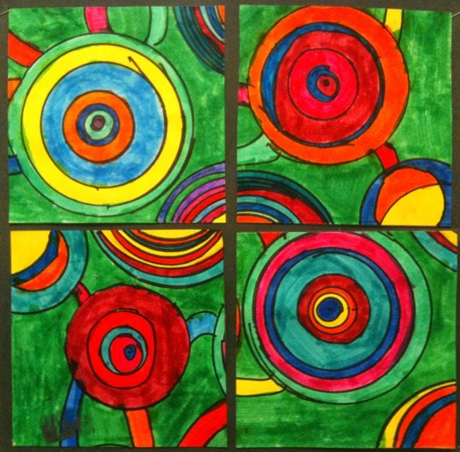 Abstract art of circles in bright colors (Second Grade Art)