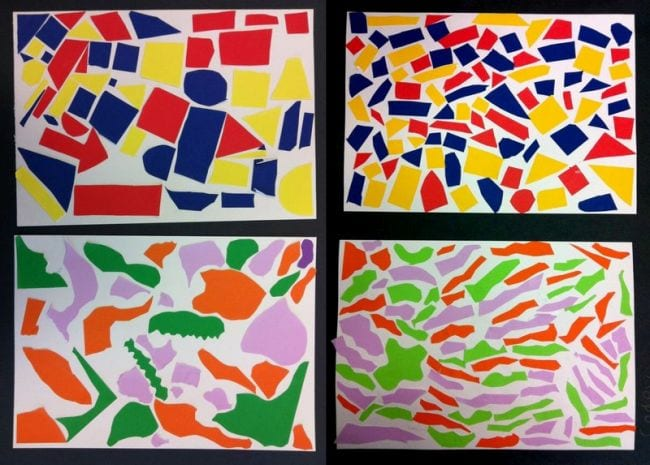 Collages of colored paper shapes (Second Grade Art)